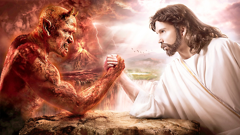 Jesus and the devil fighting